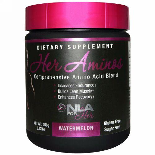 NLA for Her, Her Aminos(女性用アミノ酸)、 総合アミノ酸ブレンド、 ウォーターメロン、 0.57 ポンド (258 g) (Discontinued Item)