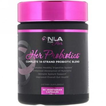 NLA for Her, Her Probiotics(女性用プロバイオティクス)、 14種類のプロバイオティクス成分の完全ブレンド、 90カプセル (Discontinued Item)