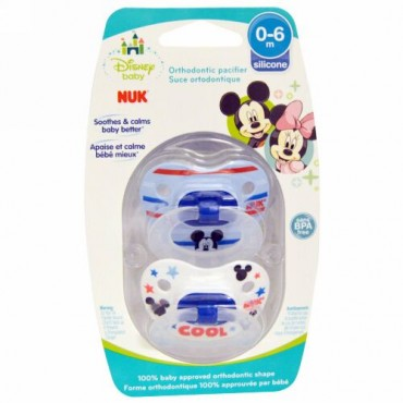 NUK, Disney Baby、Mickey Mouse Orthodontic Pacifier、0-6ヶ月、おしゃぶり2個入り (Discontinued Item)