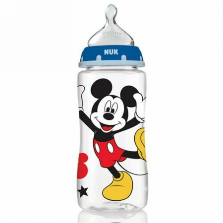 NUK, Disney Baby, Mickey Mouse Perfect Fit Bottles, Medium, 0+ Months, Grey, 3 Bottles, 10 oz (300 ml) Each (Discontinued Item)
