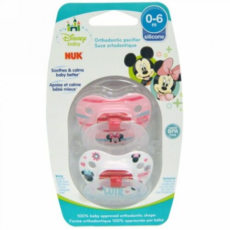 NUK, Disney Baby、Minnie Mouse Orthodontic Pacifier、0~6ヶ月、おしゃぶり2個入り (Discontinued Item)