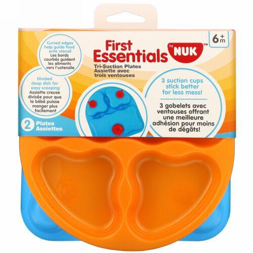 NUK, First Essentials, Tri-Suction Plates, 6+ Months, 2 Plates