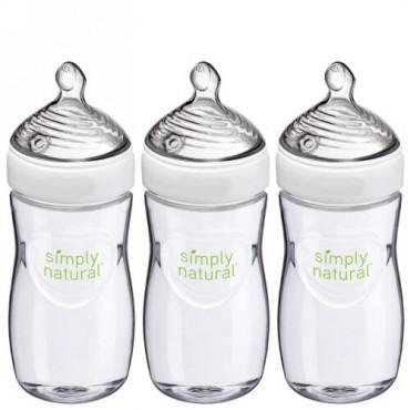 NUK, Simply Natural、ボトル、1ヶ月以上、中型、3パック、各9オンス (270 ml)