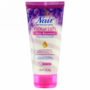 Nair, Nourishing Skin Renewal, Hair Remover Cream With Grape Seed Oil, 3 oz (85 g) (Discontinued Item)