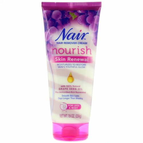 Nair, Hair Remover Cream, Nourish, Skin Renewal With Grape Seed Oil For Legs & Body, 7.9 oz (224 g) (Discontinued Item)