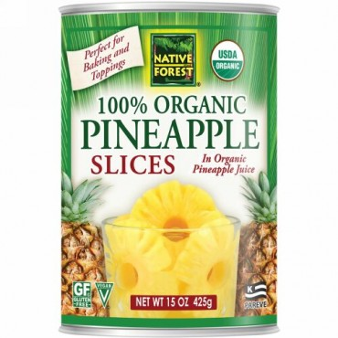 Native Forest, Edward & Sons, Native Forest, 100% Organic Pineapple Slices, 15 oz (425 g) (Discontinued Item)