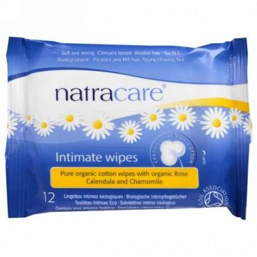 Natracare, 認証オーガニックコットン・インティメイトワイプス, 12 枚
