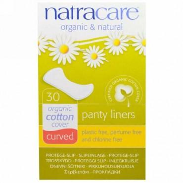 Natracare, オーガニック&ナチュラル パンティーライナー、丸みのある形状、30個入