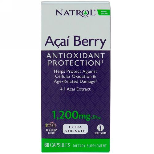 Natrol, AcaiBerry, Super Strength , 1,200 mg, 60 Capsules (Discontinued Item)