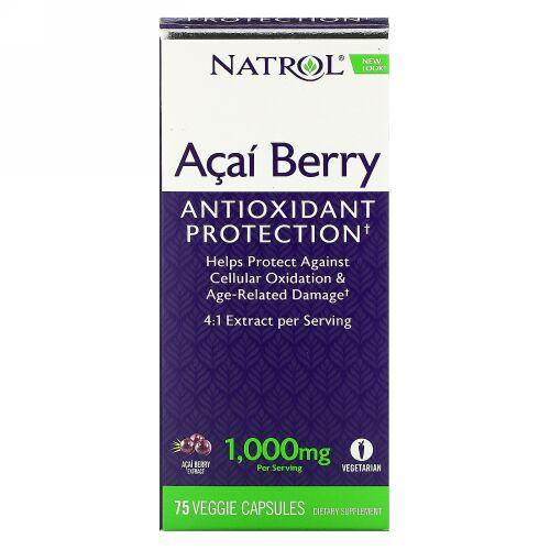 Natrol, アサイー、1,000mg、植物性カプセル75粒