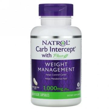 Natrol, 炭水化物インターセプト フェーズ2炭水化物コントローラー配合、1000mg、植物性粒60粒