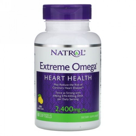 Natrol, エクストリームオメガ、レモン、2,400mg、ソフトゲル60錠
