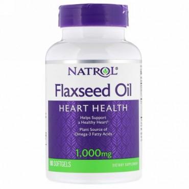 Natrol, 亜麻仁オイル、心臓の健康、1,000 mg、ソフトジェル90粒 (Discontinued Item)