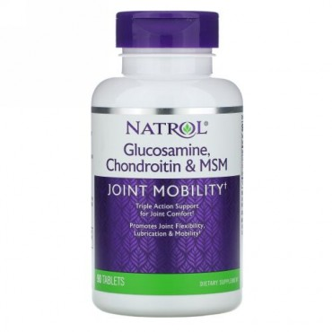 Natrol, グルコサミン、コンドロイチン&MSM、90錠