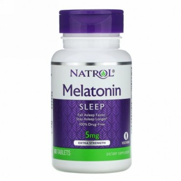 Natrol, メラトニン、最強力、5 mg、60タブレット