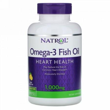 Natrol, オメガ-3 フィッシュオイル、ナチュラルレモンフレーバー、1,000 mg、ソフトジェル 150粒