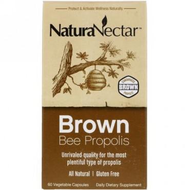NaturaNectar, ブラウンビープロポリス、ベジカプセル60個