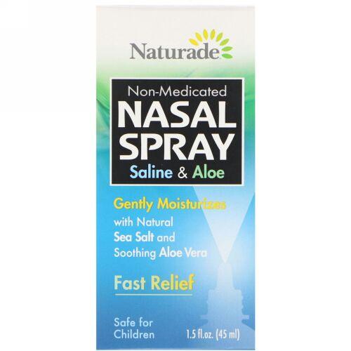 Naturade, 鼻スプレー, 生理食塩水&アロエ, 1.5液量オンス(45 ml)