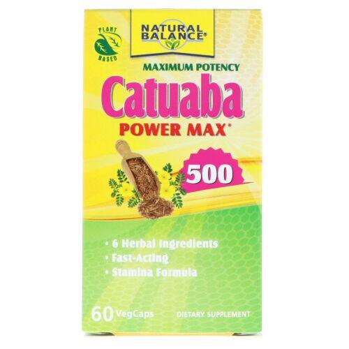 Natural Balance, カツアーバ・パウダー・マックス500、最大限の効力、植物カプセル60粒