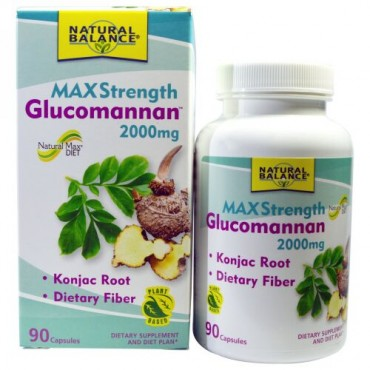 Natural Balance, Glucomannan, Maximum Strength, 2,000 mg, 90 Capsules