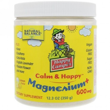 Natural Balance, ハッピーキャンパーカーム & ハッピーマグネシウム、レモン、600 mg、12.3オンス (350 g) (Discontinued Item)