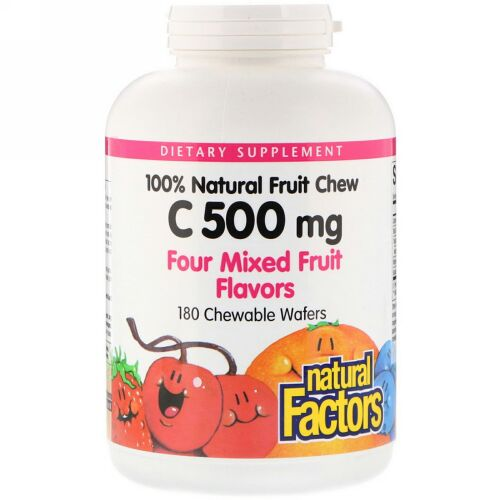 Natural Factors, 100% Natural Fruit Chew Vitamin C, Four Mixed Fruit Flavors, 500 mg, 180 Chewable Wafers