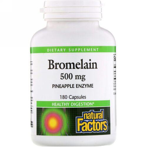Natural Factors, ブロメライン、500 mg、180カプセル