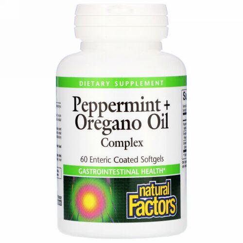 Natural Factors, ペパーミント + オレガノオイルコンプレックス、 腸溶性60ソフトジェル