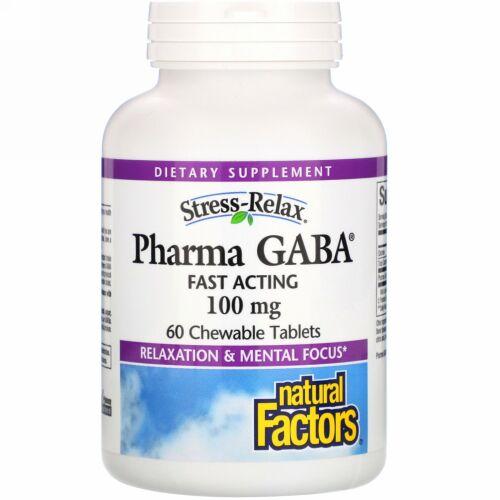 Natural Factors, Stress-Relax(ストレスリラックス)、Pharma GABA(ファーマギャバ)、100mg、チュアブルタブレット60粒