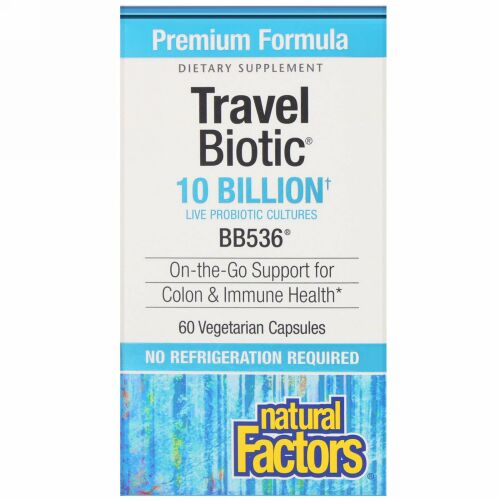 Natural Factors, Travel Biotic, BB536, 10 Billion Active Cells, 60 Vegetarian Capsules