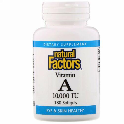 Natural Factors, ビタミン A、 10000 IU、 180ソフトジェル