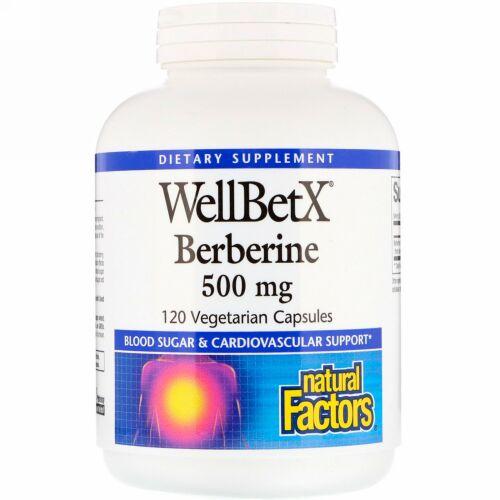 Natural Factors, WellBetX、ベルベリン、500 mg、120ベジタリアンカプセル