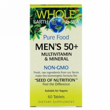Natural Factors, ホールアース&シー、50歳以上の男性のマルチビタミン&ミネラル、 60錠