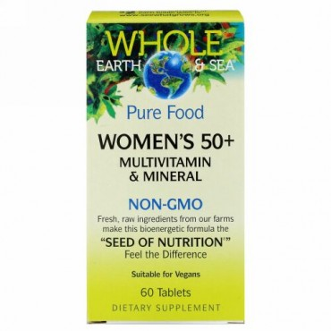 Natural Factors, Whole Earth & Sea, Women's 50+ Multivitamin & Mineral, 60 Tablets