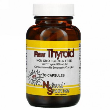 Natural Sources, Raw Thyroid, 90カプセル