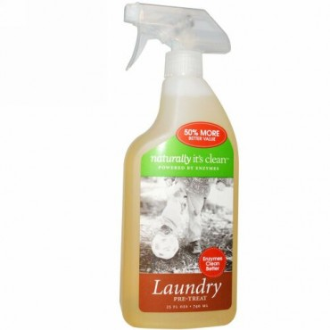 Naturally It's Clean, ランドリー・プリトリート(洗濯の前処理)、25 液体オンス(740 ml) (Discontinued Item)
