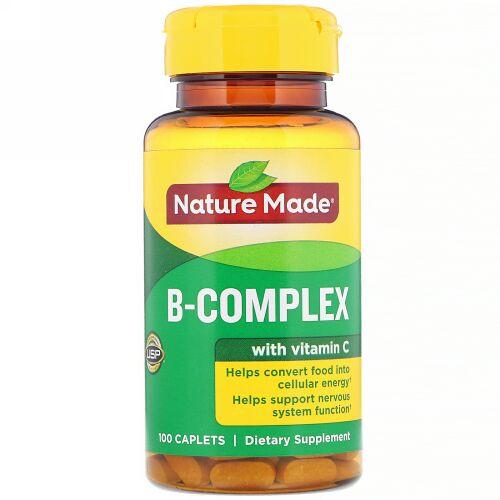 Nature Made, B 複合体 ビタミンC配合, カプレット 100 粒