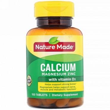 Nature Made, ビタミンD3配合カルシウムマグネシウム亜鉛、100錠