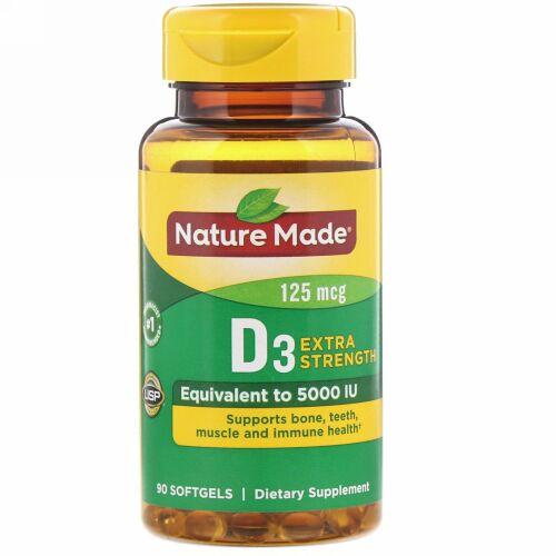 Nature Made, D3, Extra Strength, 125 mcg, 90 Softgels