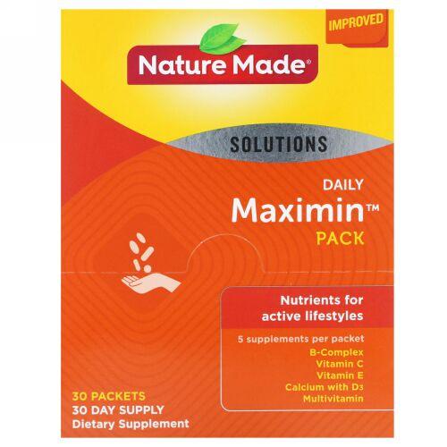 Nature Made, Daily Maximin Pack(デイリーマキシマムパック)、マルチビタミンとミネラル、1袋にサプリメント6粒、30袋