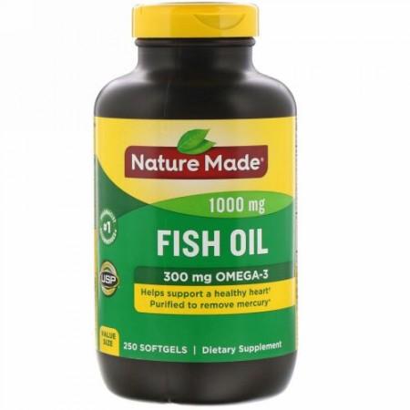 Nature Made, フィッシュオイル、1,000 mg、ソフトジェル250粒