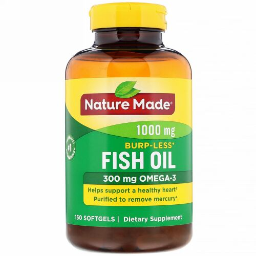 Nature Made, Fish Oil, Burp-Less, 1,000 mg, 150 Softgels