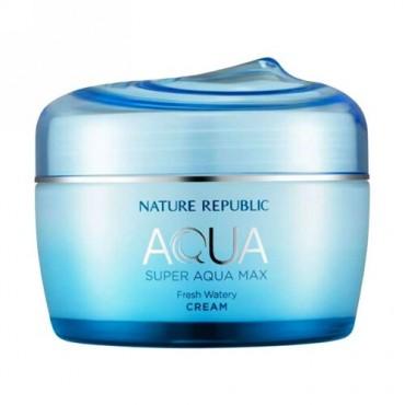 Nature Republic, アクア、スーパー・アクアマックス、フレッシュ・ウォータリークリーム、2.70 液体オンス(80 ml) (Discontinued Item)