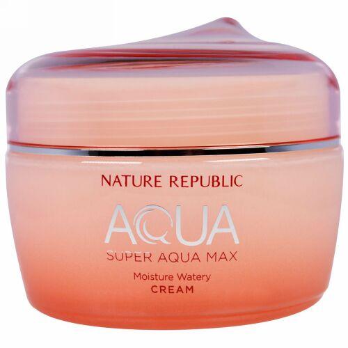 Nature Republic, アクア、スーパー・アクアマックス、モイスチャー・ウォータリークリーム、2.70 液体オンス(80 ml) (Discontinued Item)