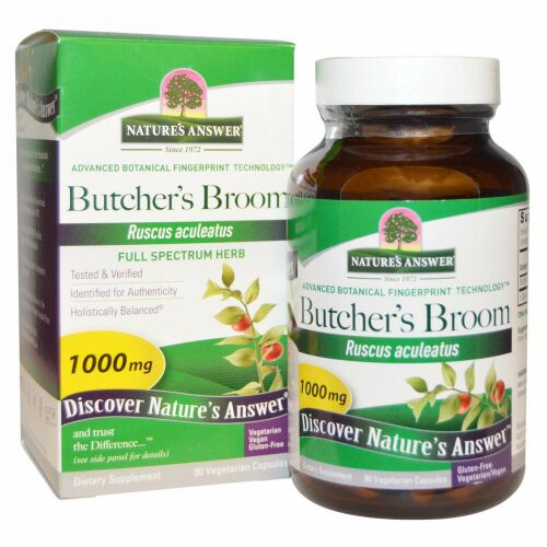 Nature's Answer, Butcher's Broom, Full Spectrum Herb, 1,000 mg, 90 Vegetarian Capsules
