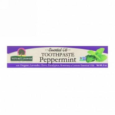 Nature's Answer, エッセンシャルオイル入り歯磨き粉、ペッパーミント、220g(8 oz)