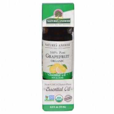 Nature's Answer, オーガニック エッセンシャルオイル、100% ピュア グレープフルーツ、0.5 fl oz (15 ml) (Discontinued Item)