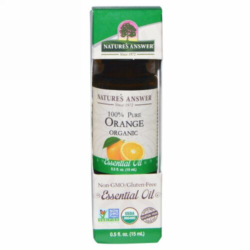 Nature's Answer, オーガニック エッセンシャルオイル、100% ピュア オレンジ、0.5 fl oz (15 ml)