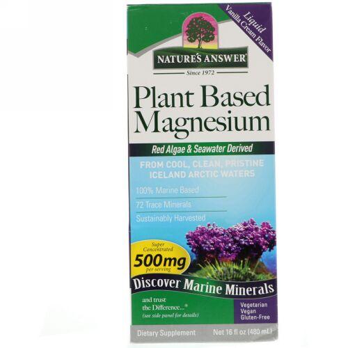 Nature's Answer, 植物ベースマグネシウム、バニラクリームフレーバー、500 mg、16液量オンス (480 ml) (Discontinued Item)