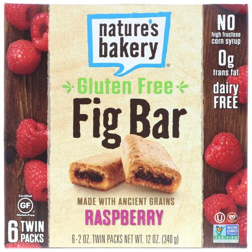 Nature's Bakery, グルテンフリーのイチジクバー、ラズベリー、ツインパック6個、各2 oz (Discontinued Item)